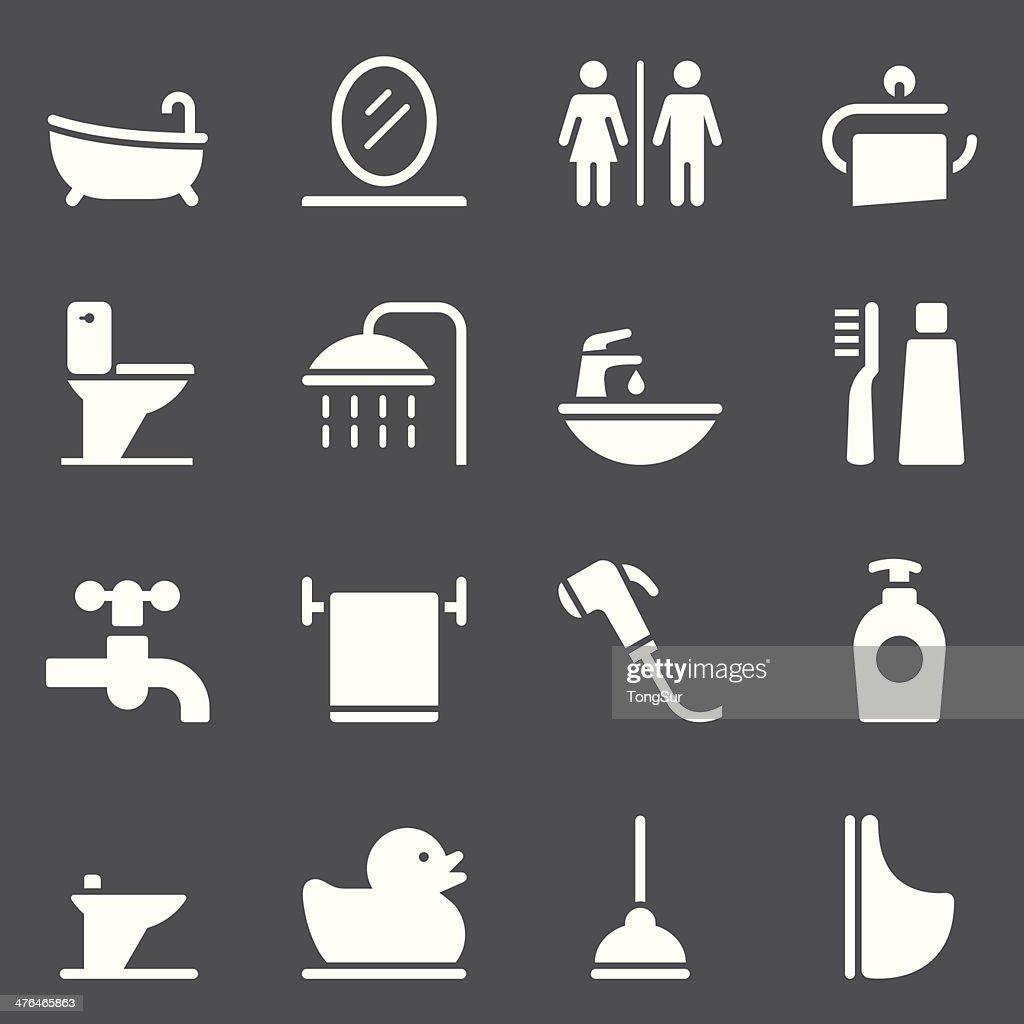 Bathroom Icons - White Series