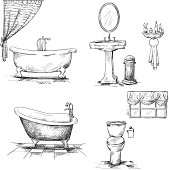 Bathroom interior elements. hand drawn.