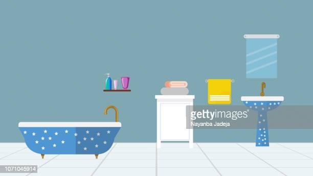 ilustrações, clipart, desenhos animados e ícones de interior de casa de banho com mobiliário - bathroom