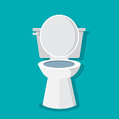 Bathroom interior with Toilet bowl, toilet paper,toilet brush. Vector illustration
