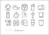 Bathroom line icon set