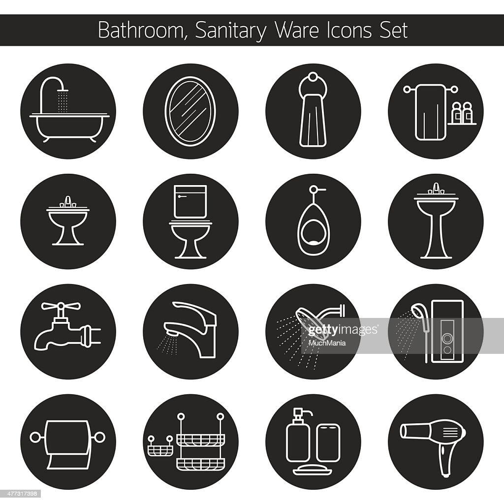Bathroom Line Icons Set