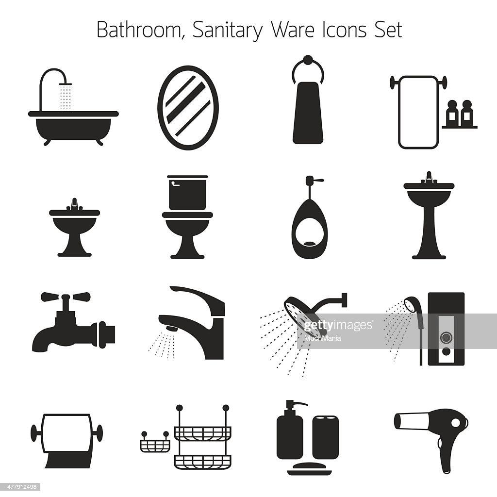 Bathroom Mono Icons Set
