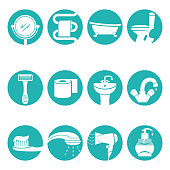 Bathroom necessary elements in round logo signs vector poster