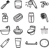 bathroom objects or icons set
