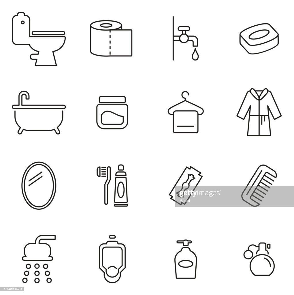 Bathroom or Shower Icons Thin Line Vector Illustration Set