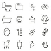 Bathroom or Shower Icons Thin Line Vector Illustration Set