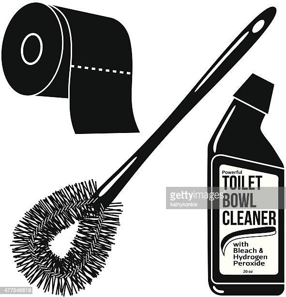 bathroom products in black and white - toilet brush stock illustrations, clip art, cartoons, & icons