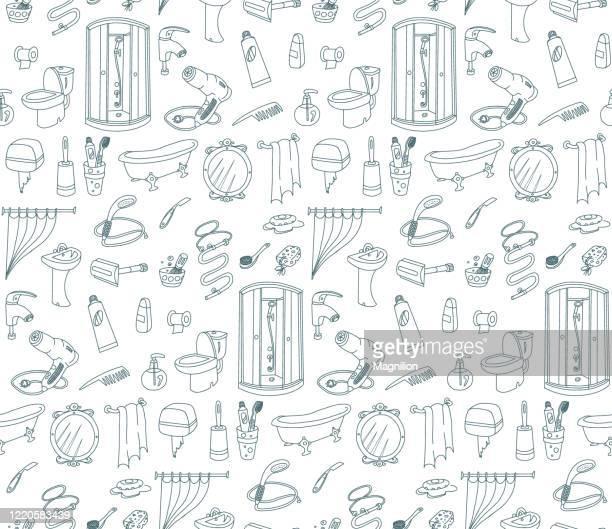 badezimmer nahtlose muster doodles - tapete stock-grafiken, -clipart, -cartoons und -symbole
