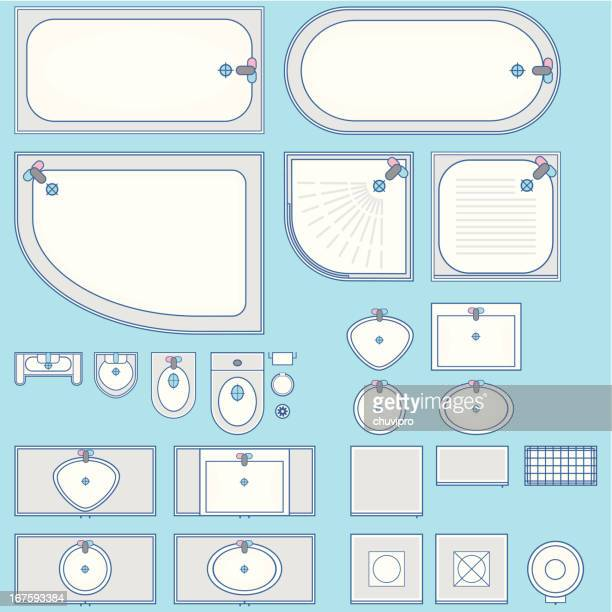 bathroom set icon top view - bathroom stock illustrations, clip art, cartoons, & icons