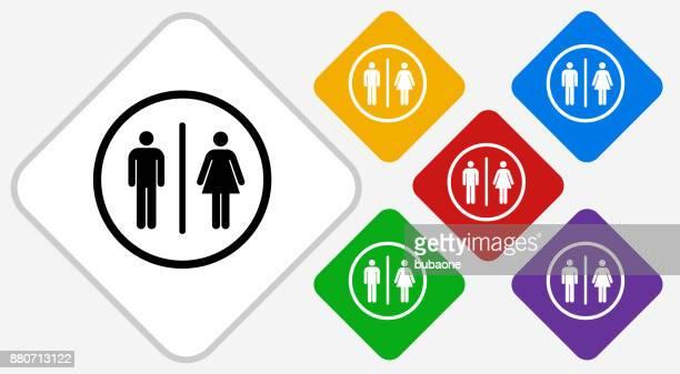 Bathroom Sign Color Diamond Vector Icon