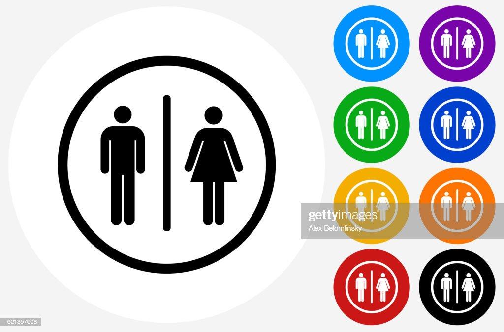 bathroom sign vector. Bathroom Sign Icon On Flat Color Circle Buttons : Vector Art