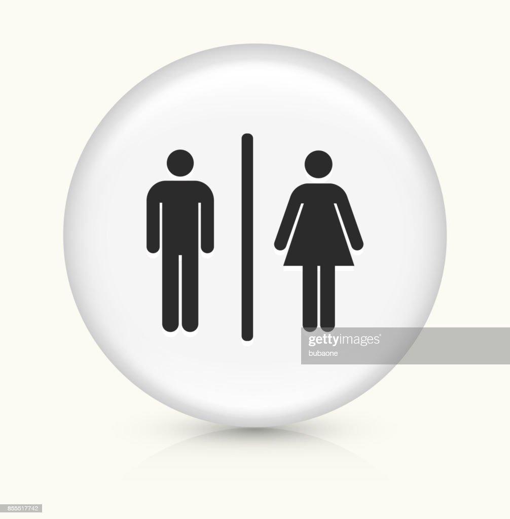 Bathroom Sign On White Round Button : Vector Art
