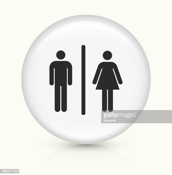bathroom sign on white round button - toilet sign stock illustrations, clip art, cartoons, & icons