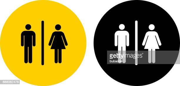 bathroom sign. - toilet sign stock illustrations, clip art, cartoons, & icons