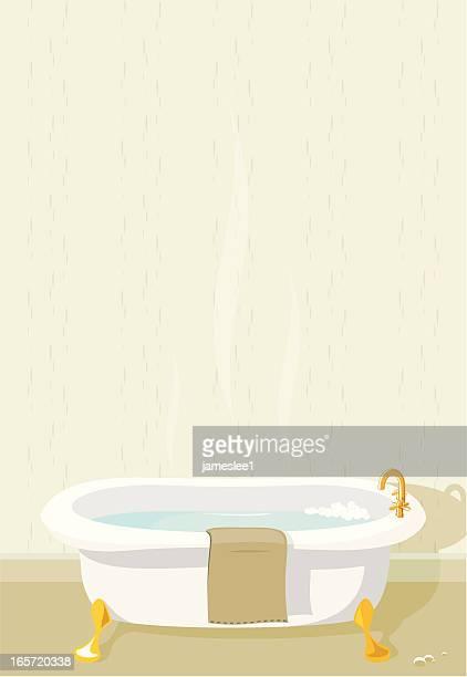ilustraciones, imágenes clip art, dibujos animados e iconos de stock de baño con espacio de copia - bañera con patas