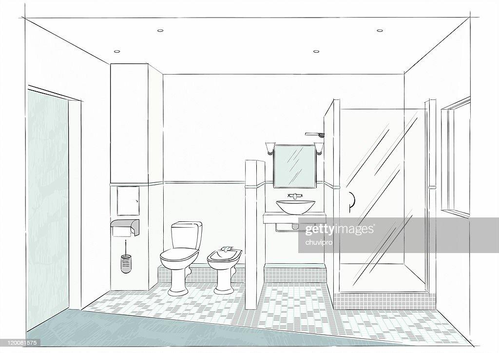 sketch del baño : Ilustración de stock