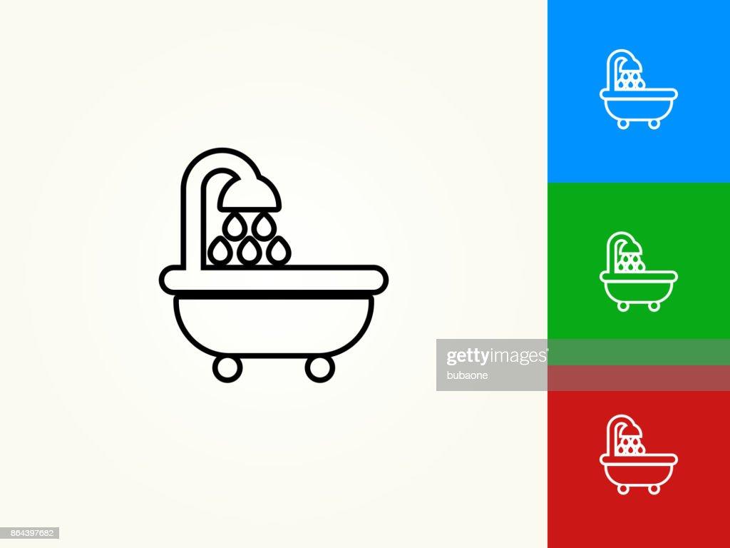 Bathtub And Running Water Black Stroke Linear Icon Vector Art