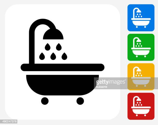 bathtub and running water icon flat graphic design - shower stock illustrations, clip art, cartoons, & icons
