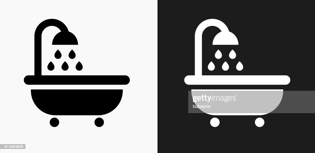 Bathtub And Running Water Icon On Black And White Vector Backgrounds
