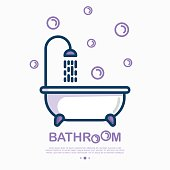 Bathtub and shower with running water and bubbles around. Thin line vector illustration of plumbing or save water concept.