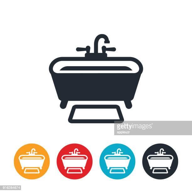 ilustraciones, imágenes clip art, dibujos animados e iconos de stock de icono de bañera - bañera con patas