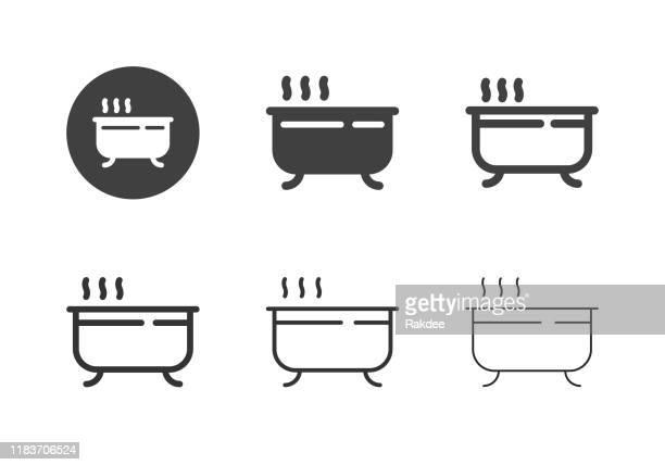 ilustraciones, imágenes clip art, dibujos animados e iconos de stock de iconos de bañera - serie múltiple - bañera con patas
