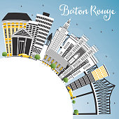 Baton Rouge Louisiana City Skyline with Color Buildings, Blue Sky and Copy Space.