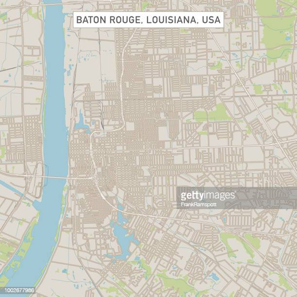 baton rouge louisiana us city street map - baton rouge stock illustrations