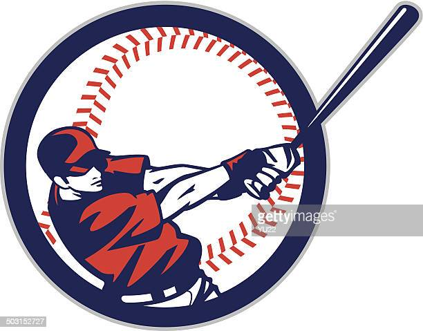 batter in ball - baseball stock illustrations, clip art, cartoons, & icons