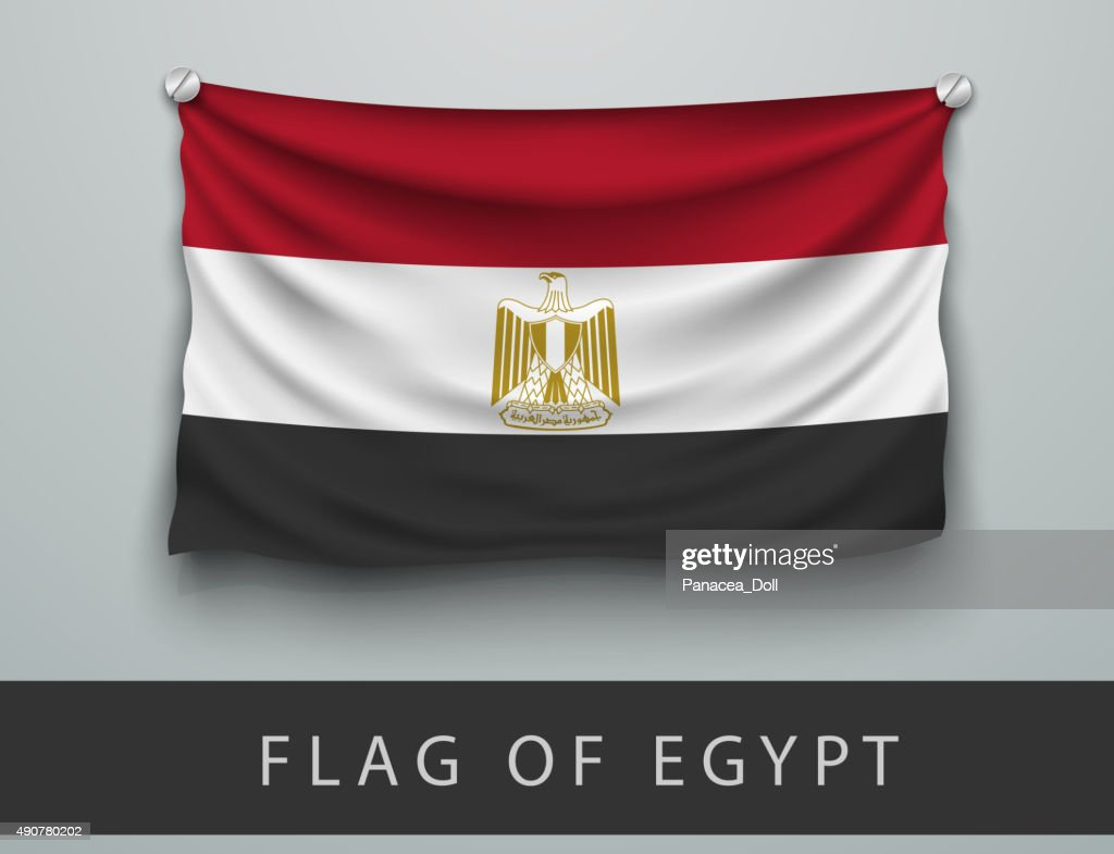FLAG OF EGYPT battered, hung on the wall