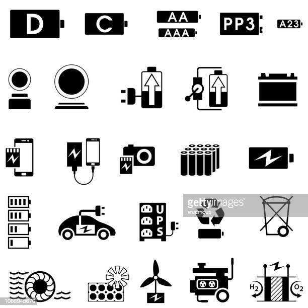 batteries and electricity supply and generation icons - generator stock illustrations