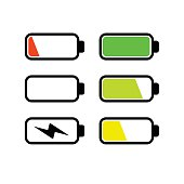 Batteries icon set vector illustration