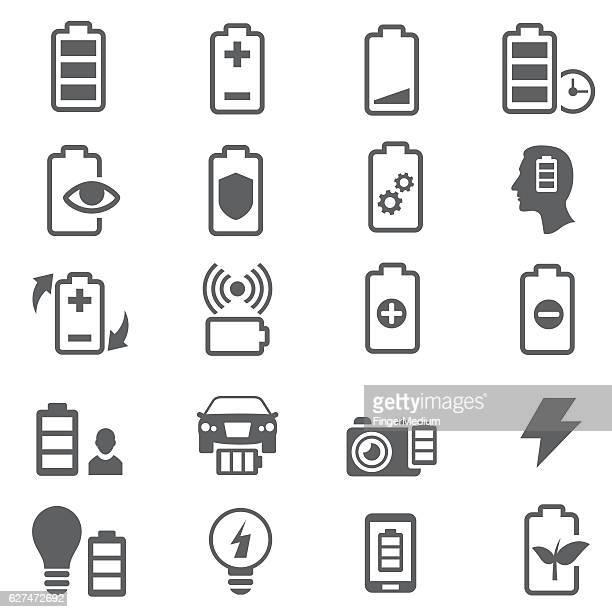 ilustrações, clipart, desenhos animados e ícones de batteries icons - subtração