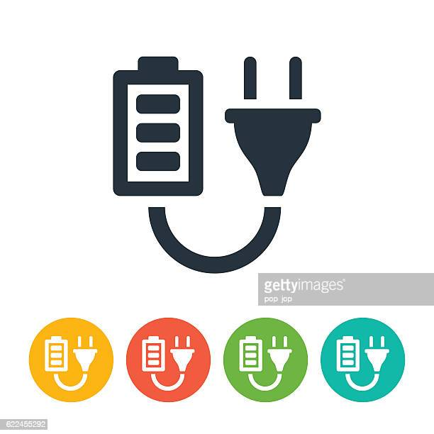 battery and plug icon - electric plug stock illustrations