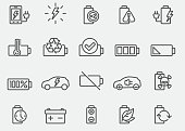 Battery And Power Line Icons
