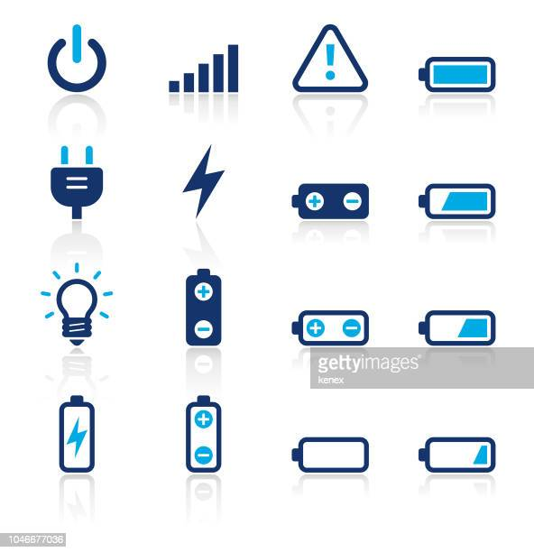 Battery and Power Two Color Icons Set