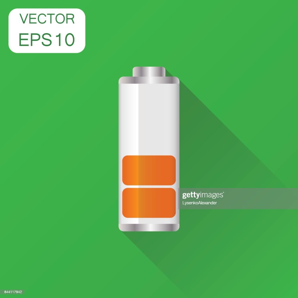 Battery Charge Level Indicator Icon Business Concept Pictogram Vector Illustration On Green Background With Long Shadow