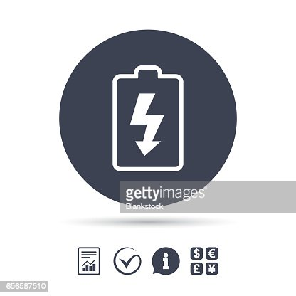Battery Charging Sign Icon Lightning Symbol Vector Art Getty Images