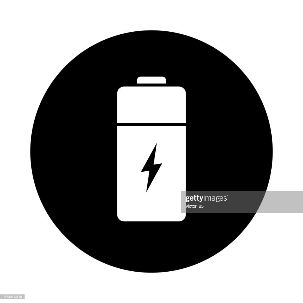 Battery circle icon. Black, round, minimalist icon isolated on white background.