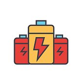 Battery, energy power flat line illustration, concept vector isolated icon