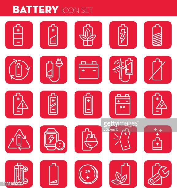 Battery Flat Simple outline line art design Icon set