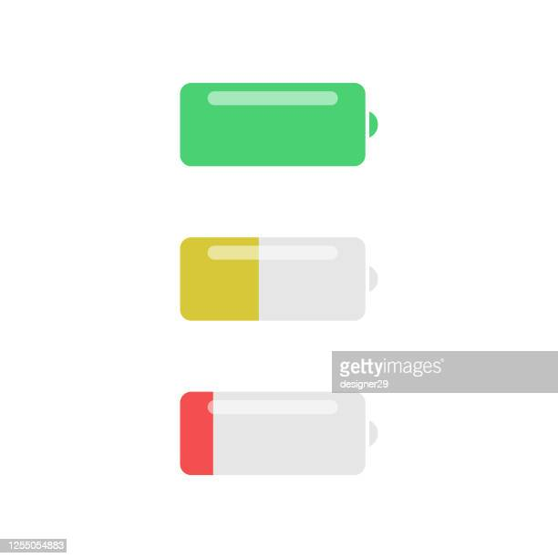 battery icon. full, medium and low battery vector design on isolated white background. - low stock illustrations