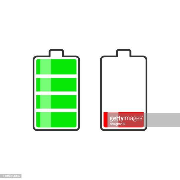 illustrazioni stock, clip art, cartoni animati e icone di tendenza di icona della batteria, segnale batteria alta e scarica. - attaccante