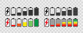 Battery icon set .  Collection of charge battery level indicators. Charge indicator , vector illustration. Smartphone accumulator.