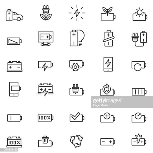 battery icon set - low stock illustrations