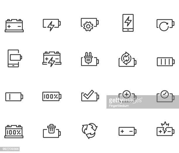 batterie-icon-set - aufladen stock-grafiken, -clipart, -cartoons und -symbole
