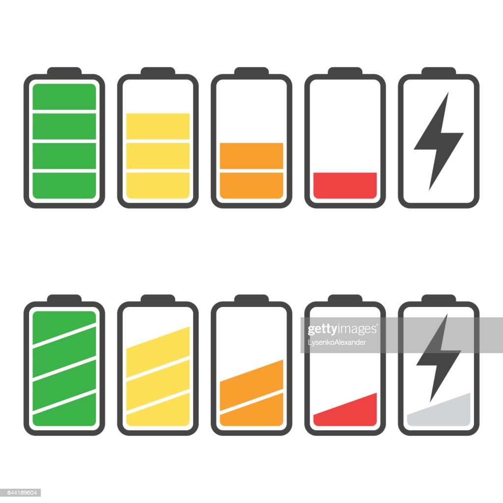Batteriesymbol Vektor Setzen Isolierten Auf Weißen Hintergrund ...
