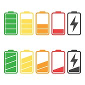Battery icon vector set isolated on white background. Symbols of battery charge level, full and low. The degree of battery power flat vector illustration.