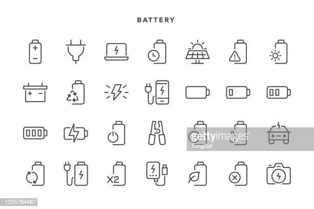illustrazioni stock, clip art, cartoni animati e icone di tendenza di icone batteria - industria energetica